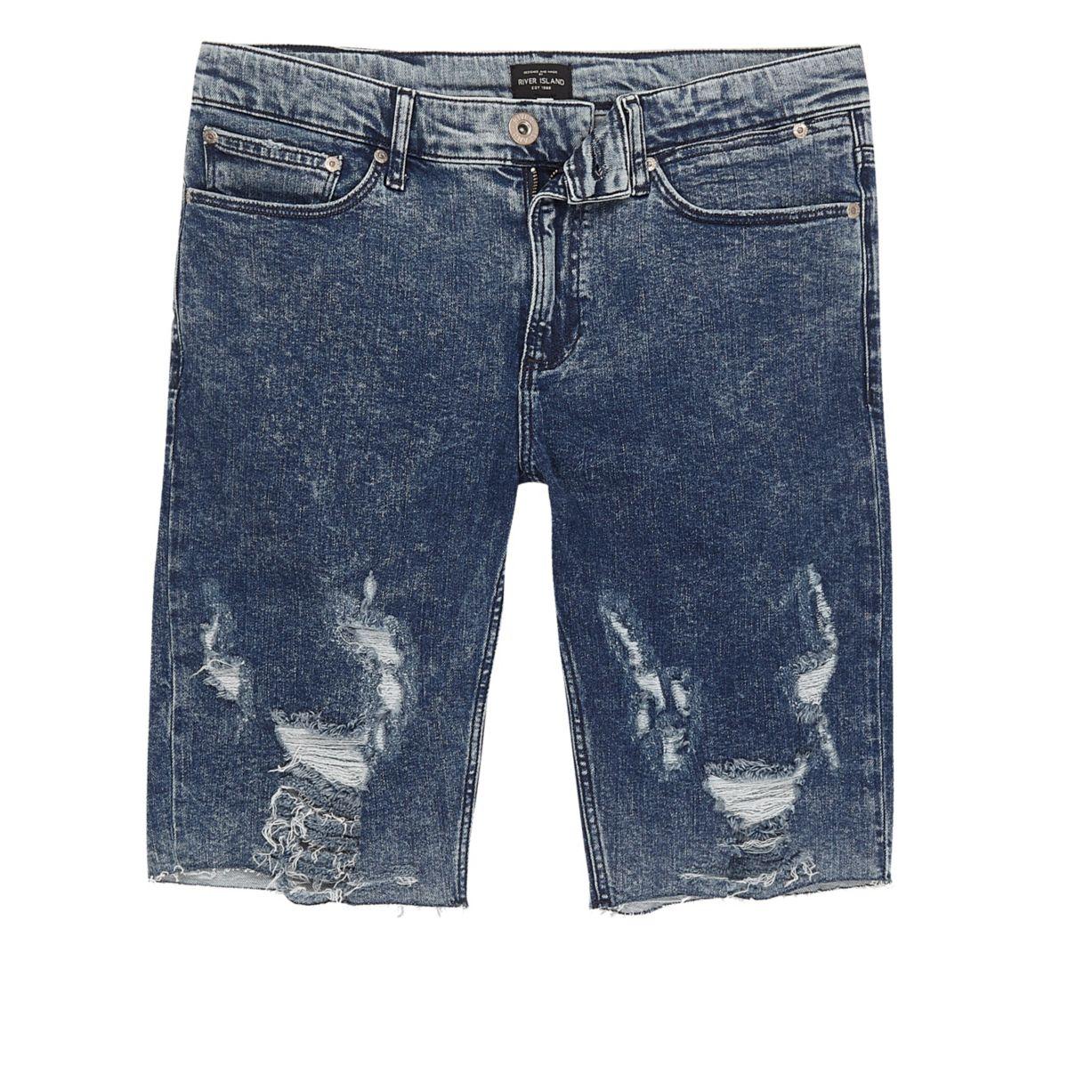 Blauwe acid wash ripped skinny-fit denim short