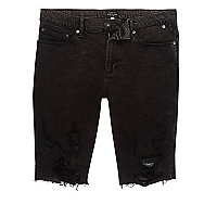 Black ripped acid wash skinny denim shorts