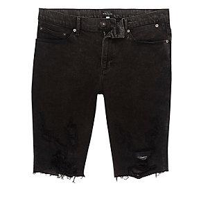 Short en jean skinny noir déchiré délavé à l'acide