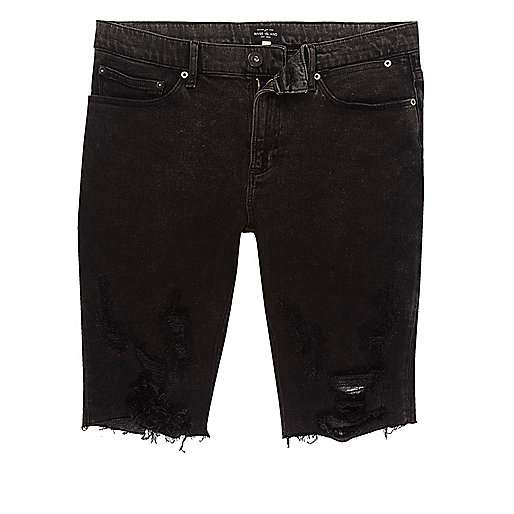 Black ripped acid wash skinny denim shorts