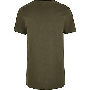 Dunkelgrünes, langes T-Shirt mit rundem Saum
