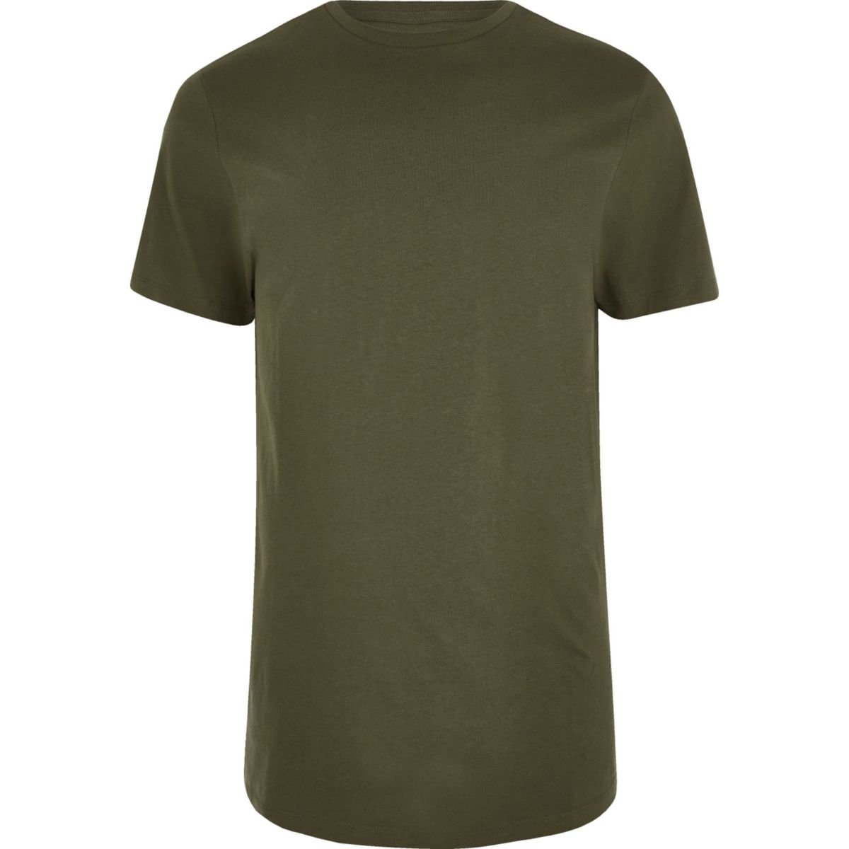 Dark green curved hem longline T-shirt