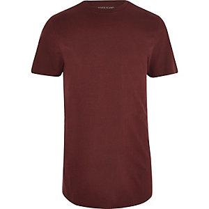 T-shirt rouge foncé à ourlet arrondi