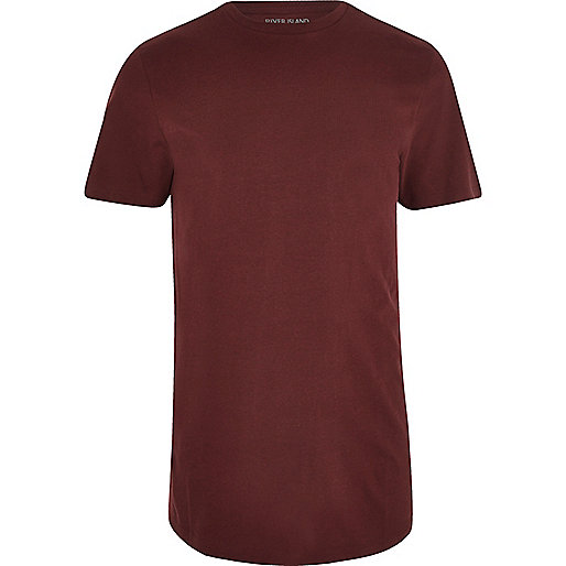 Dark red curved hem T-shirt