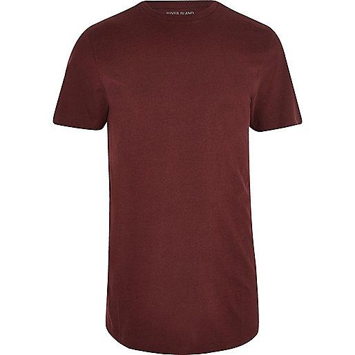 Dark red curved hem T-shirt