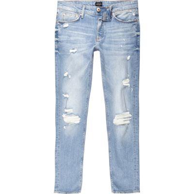 Sid Lichtblauwe wash distressed skinny jeans