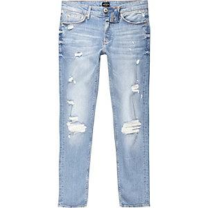 Sid - Lichtblauwe wash distressed skinny jeans