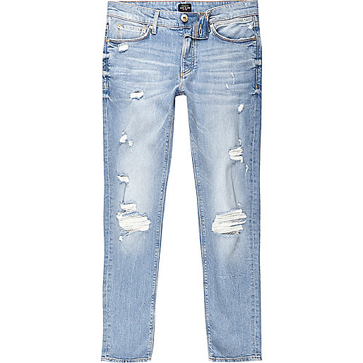 Light blue wash Sid distressed skinny jeans