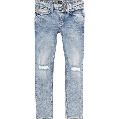 Sid Lichtblauwe skinny jeans met gescheurde knie voor jongens