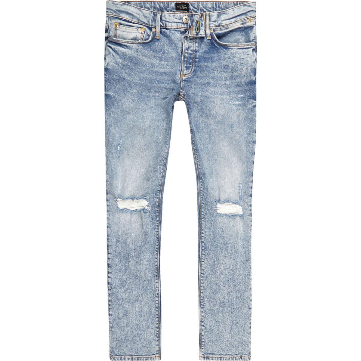 Light blue ripped knee Sid skinny jeans