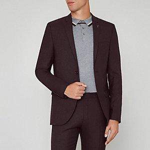 Veste de costume skinny en laine mélangée bordeaux