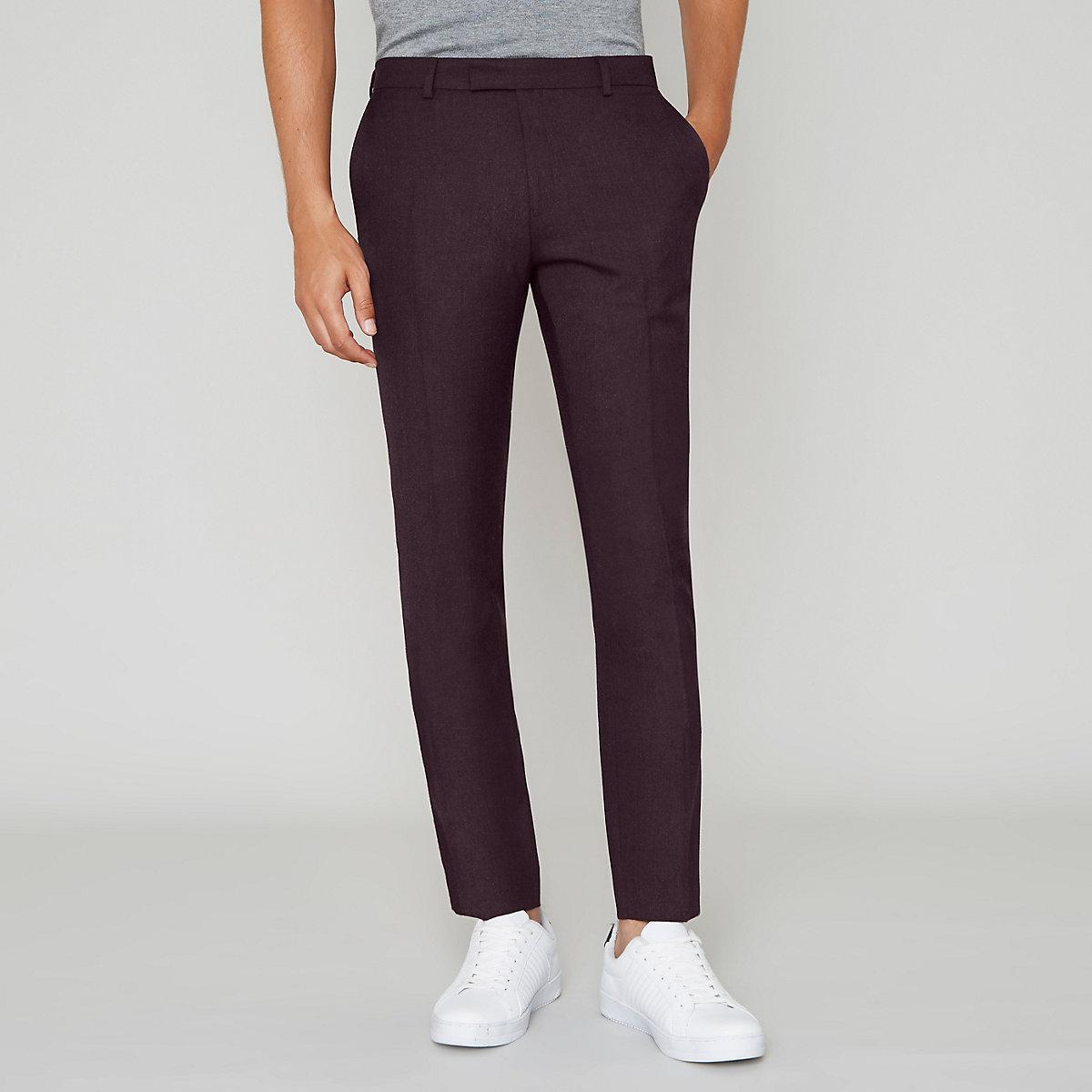 Burgundy skinny fit wool blend suit trousers