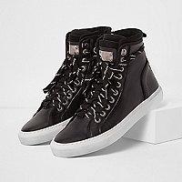 Black Premium leather hi top trainers