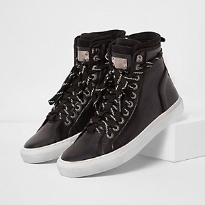 Black Premium leather hi top trainers