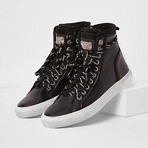 Schwarze, hohe Premium-Sneaker aus Leder