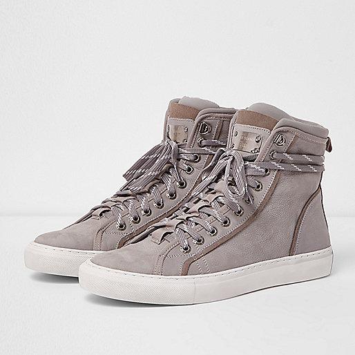 Grey Premium leather hi top trainers