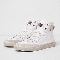 Baskets montantes en cuir Premium blanches