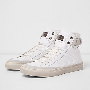 White Premium leather hi top trainers