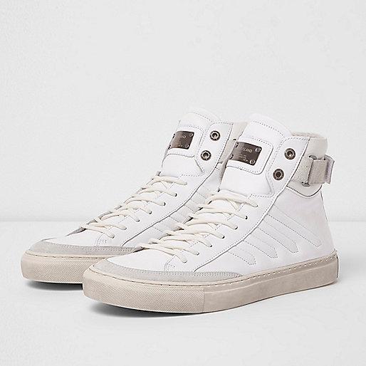 White Premium leather hi top sneakers