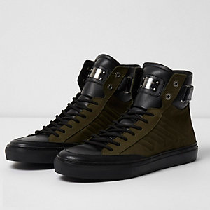 Dark green Premium leather hi top trainers