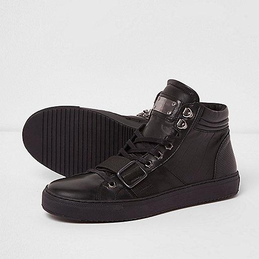 Black Premium leather strap hi top trainers