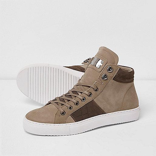 Brown Premium leather hi top sneakers