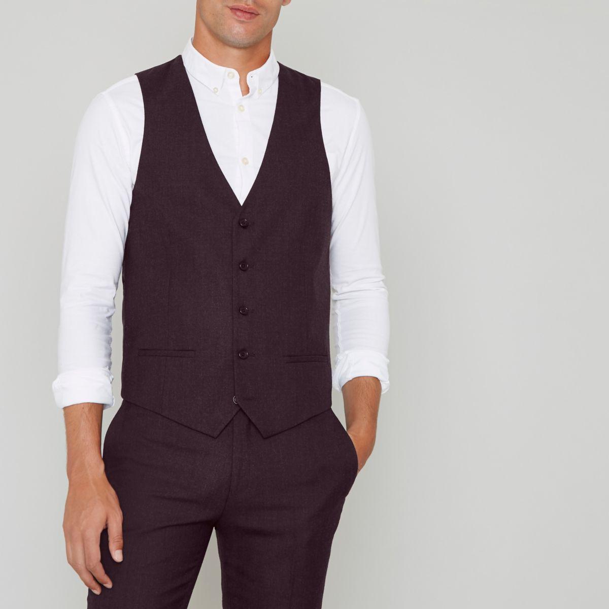 Burgundy wool blend suit waistcoat