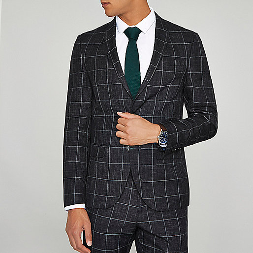 Navy window check skinny fit suit jacket
