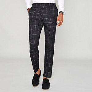 Navy window check skinny suit trousers