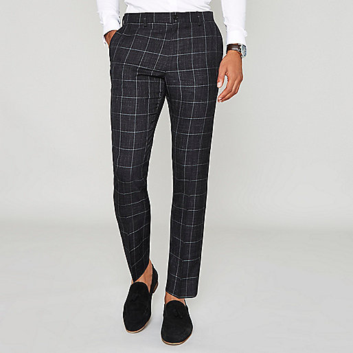 Navy window check skinny suit pants