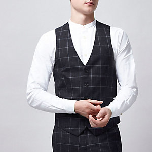 Navy window check suit waistcoat