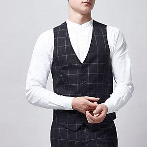 Navy window check suit vest