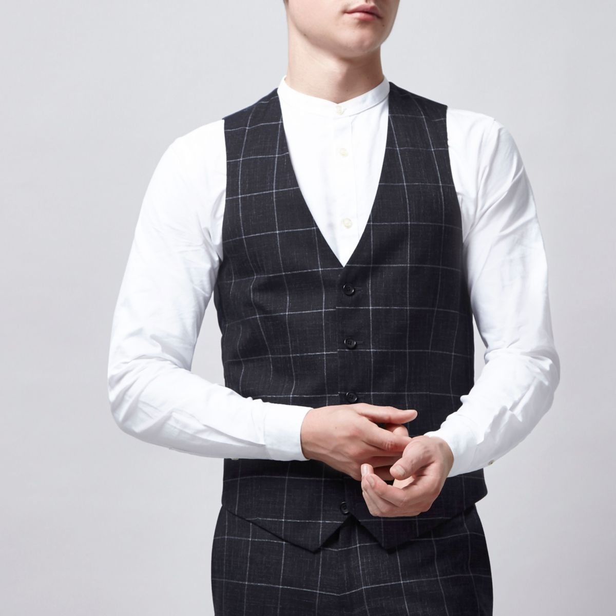 Navy window check suit vest