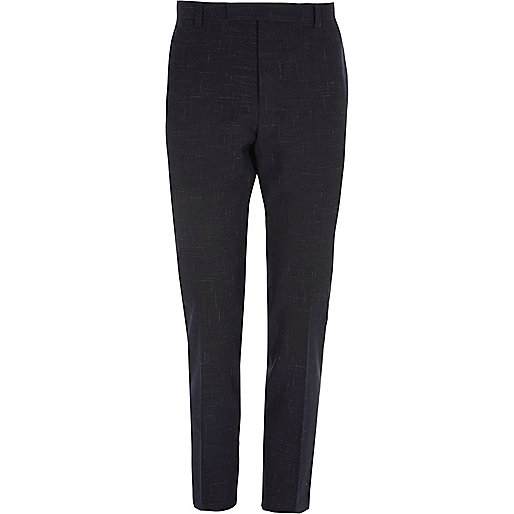 Navy scratch skinny suit trousers