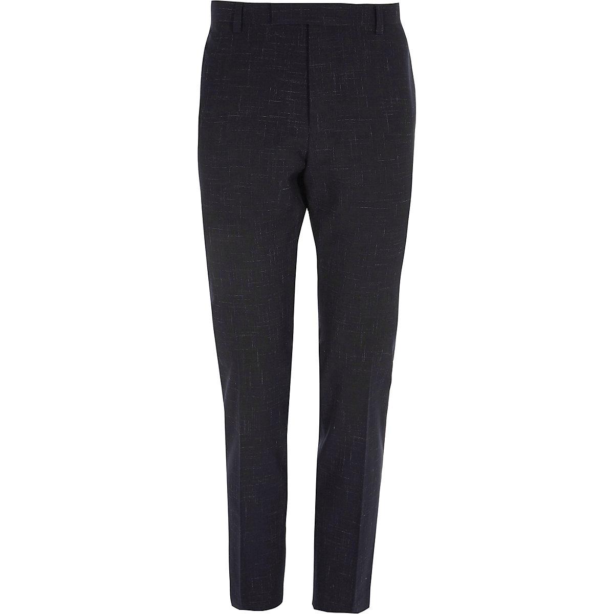 Navy skinny fit suit pants