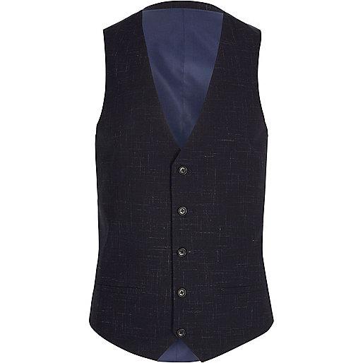 Navy scratch suit waistcoat
