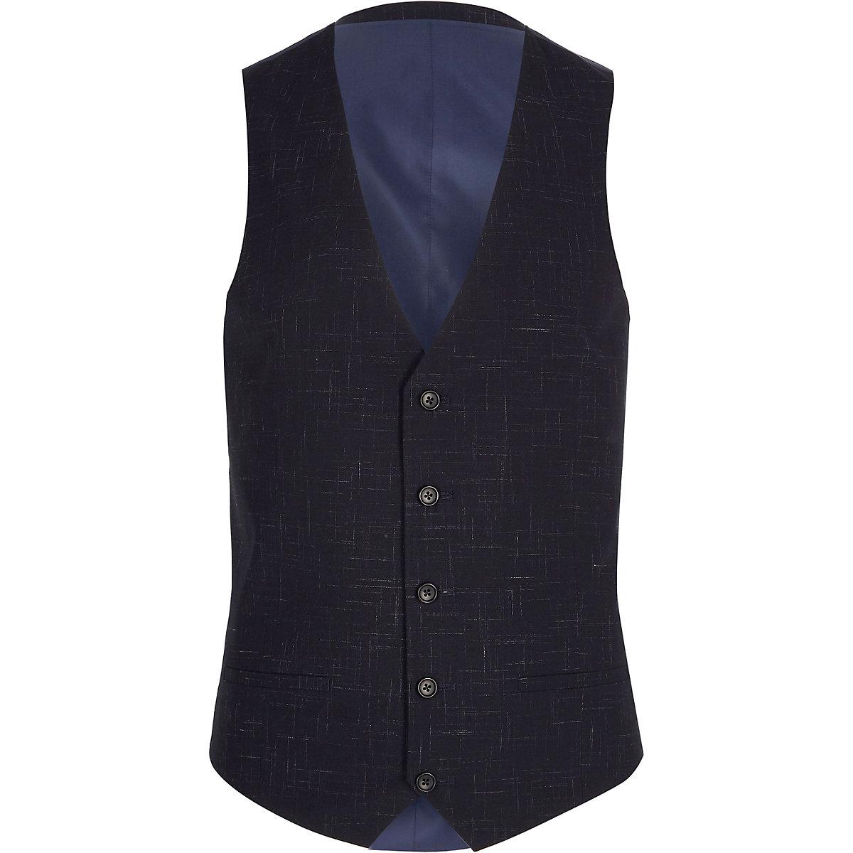 Navy suit vest
