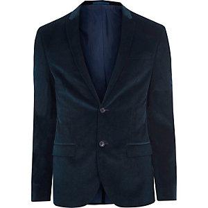 Veste de costume skinny en velours côtelé bleu canard