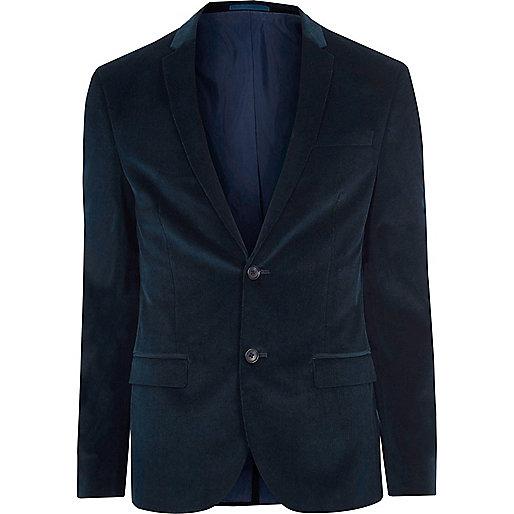 Teal blue corduroy skinny fit suit jacket
