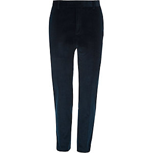 Teal blue corduroy skinny fit suit pants
