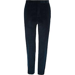 Pantalon de costume skinny en velours côtelé bleu canard