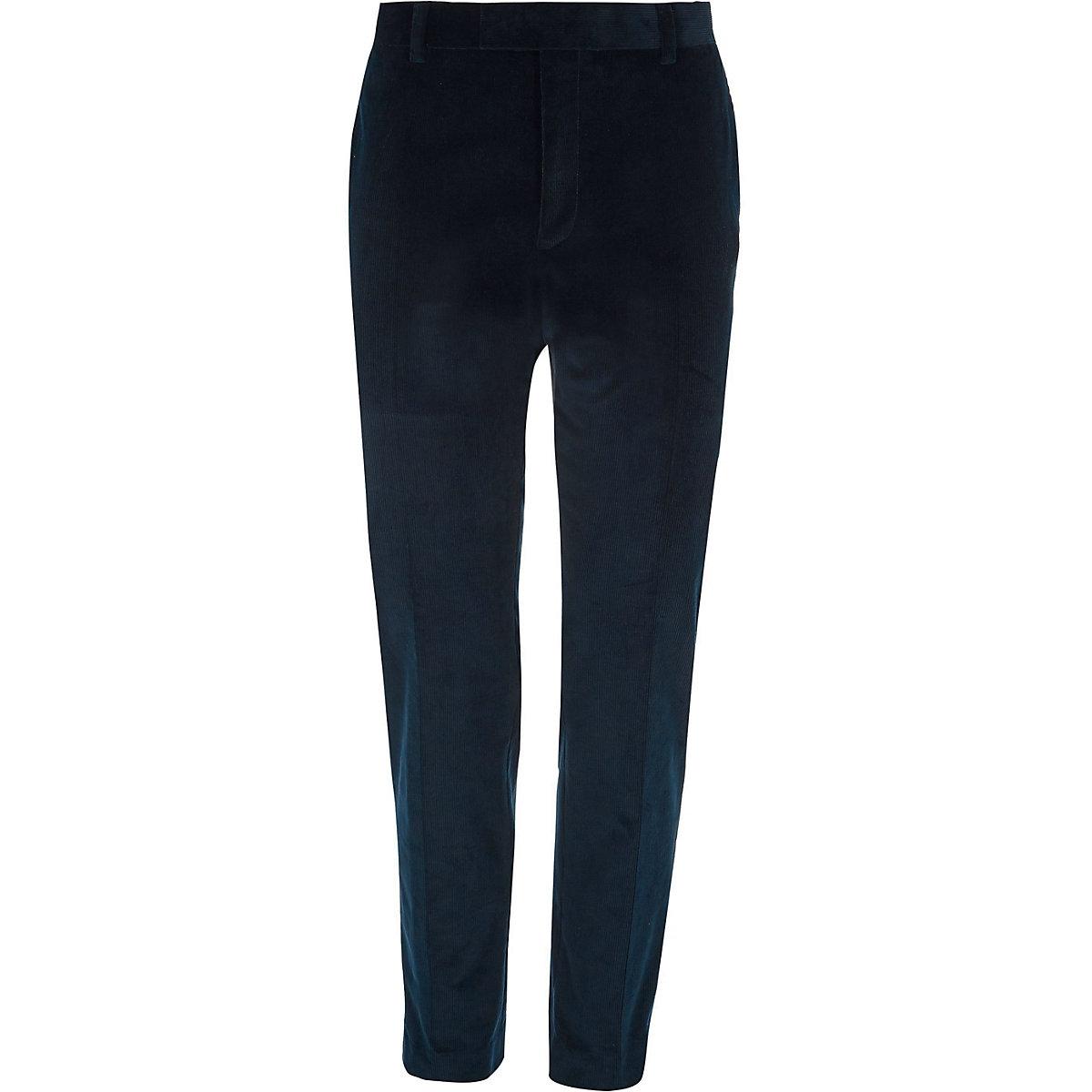 Teal blue corduroy skinny fit suit pants