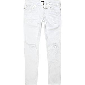 Sid – Jean skinny blanc déchiré délavé