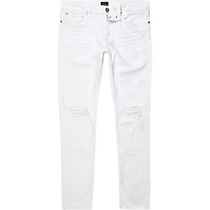 Sid - Witte wash ripped skinny jeans