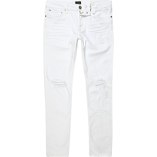 White wash ripped Sid skinny jeans