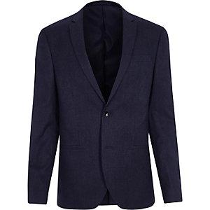 Marineblaue, gestreifte Skinny Anzugsjacke