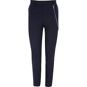 Pantalon de costume skinny rayé bleu marine