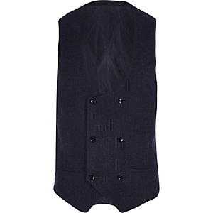 Navy stripe double breasted suit waistcoat
