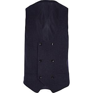 Gilet de costume rayé bleu marine à double boutonnage