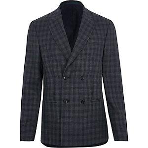 Graue, zweireihige Anzugsjacke mit Karos